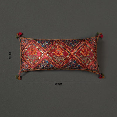 Red Kutch Print Rectangle Cushion With Filler by Ritu Kumar Home