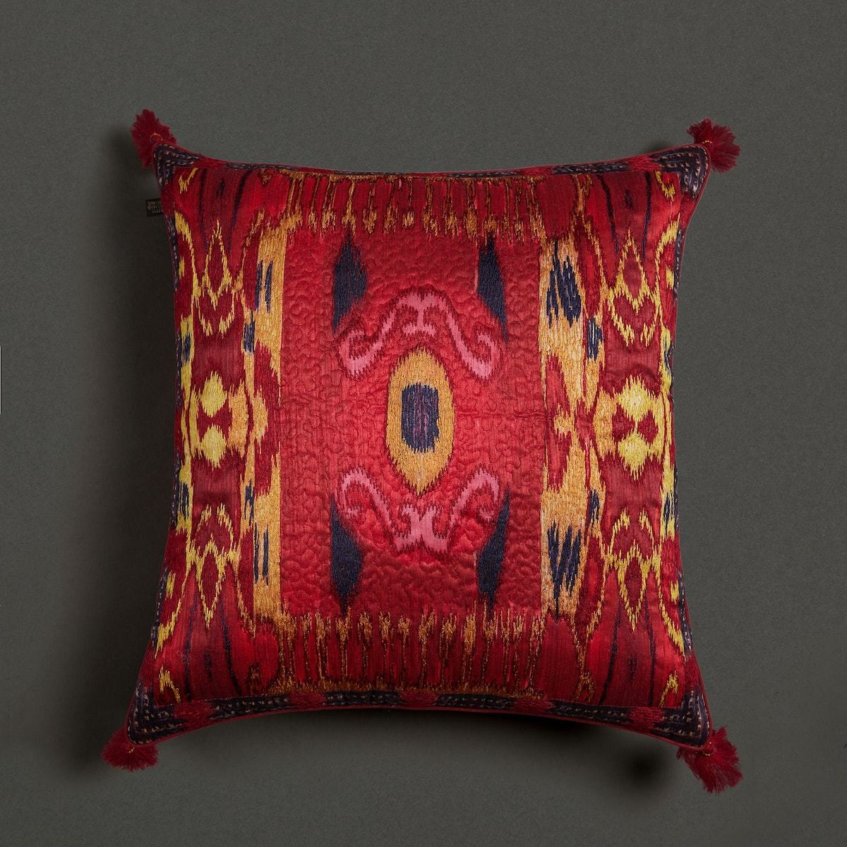 Red Ikkat Print Square Cushion With Filler by Ritu Kumar Home - Home Artisan