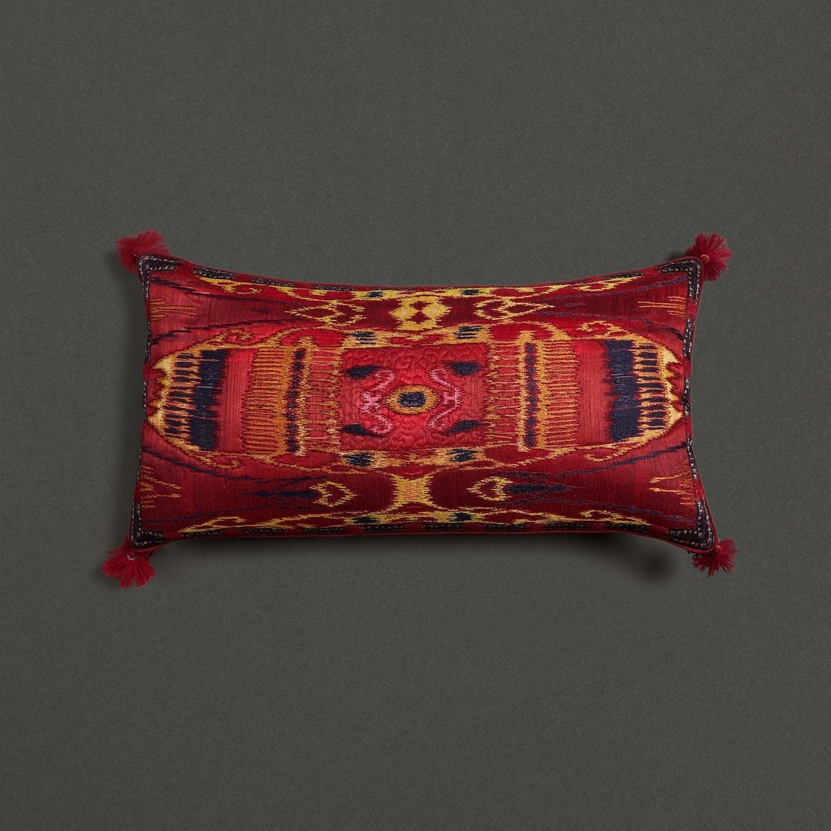 Red Multi Ikkat Print Rectangle Cushion With Filler by Ritu Kumar Home - Home Artisan