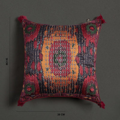 Pink Multi Ikkat Print Cushion With Filler by Ritu Kumar Home