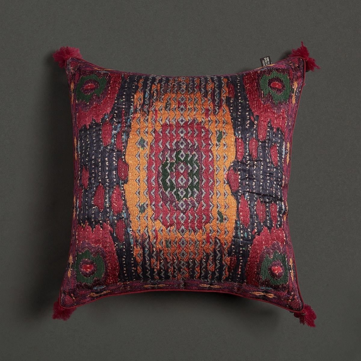 Pink Multi Ikkat Print Cushion With Filler by Ritu Kumar Home - Home Artisan