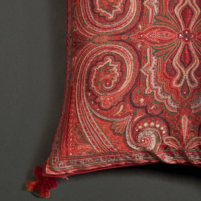 Maroon Jamavar Print Square Cushion With Filler by Ritu Kumar Home