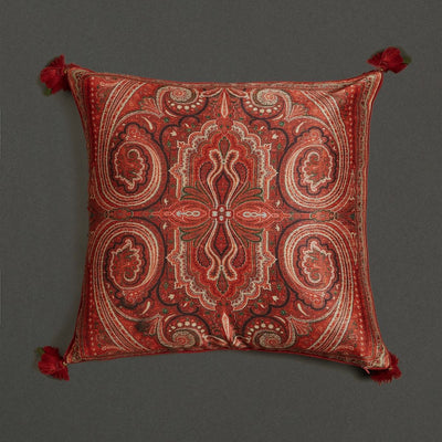 Maroon Jamavar Print Square Cushion With Filler by Ritu Kumar Home - Home Artisan
