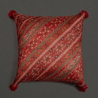 Multi Jamavar Print Square Cushion With Filler by Ritu Kumar Home - Home Artisan