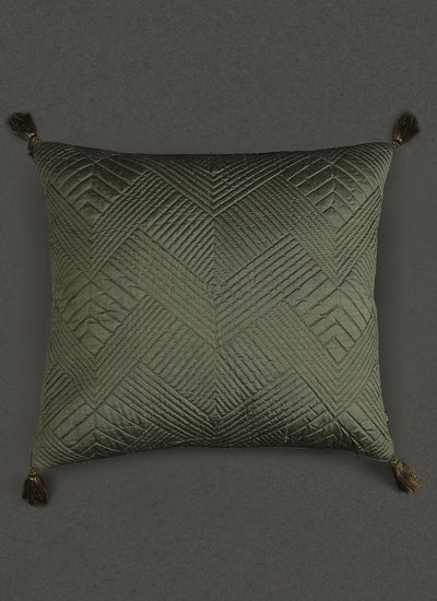 Green Quilted Core Cushion With Filler by Ritu Kumar Home - Home Artisan
