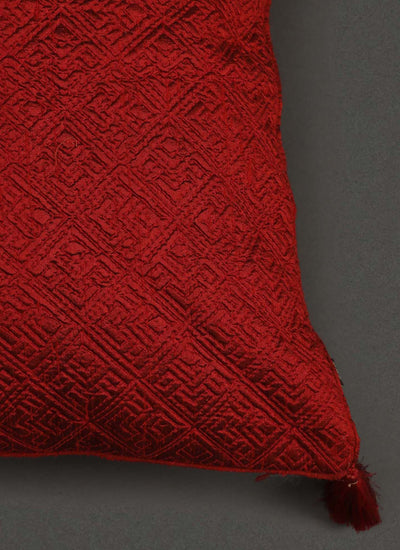 Red Quilted Core Cushion With Filler by Ritu Kumar Home