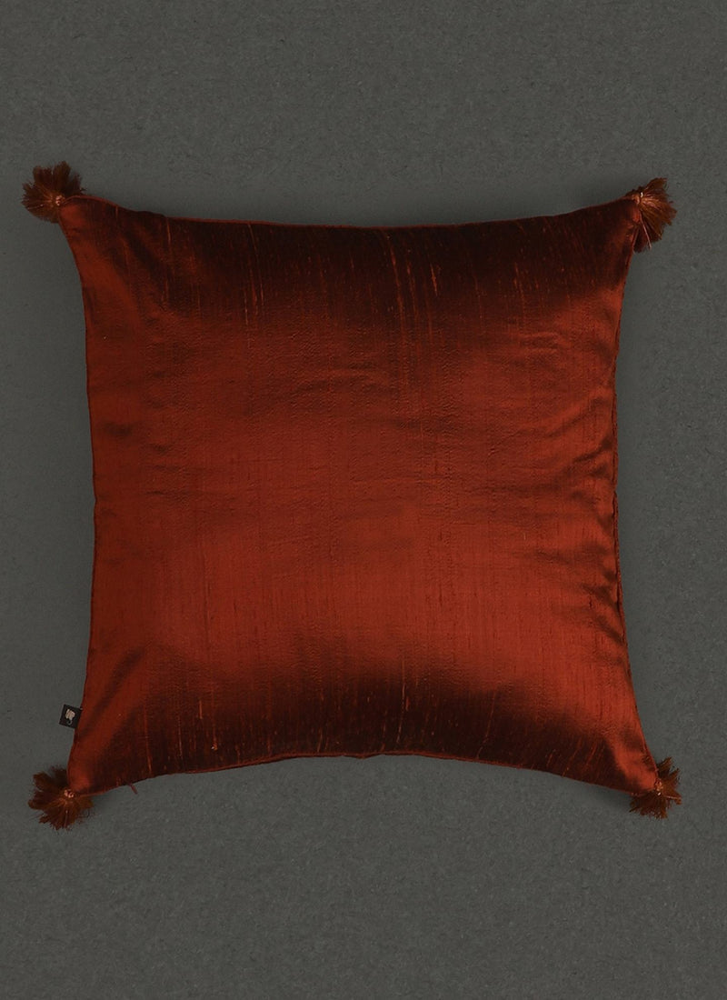 Rust Quilted Core Cushion With Filler by Ritu Kumar Home - Home Artisan
