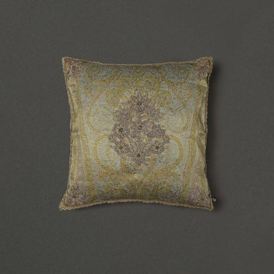 Beige & Gold Square Cushion With Filler by Ritu Kumar Home - Home Artisan