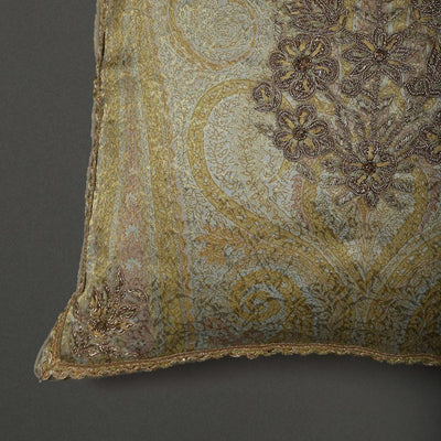 Beige & Gold Square Cushion With Filler by Ritu Kumar Home