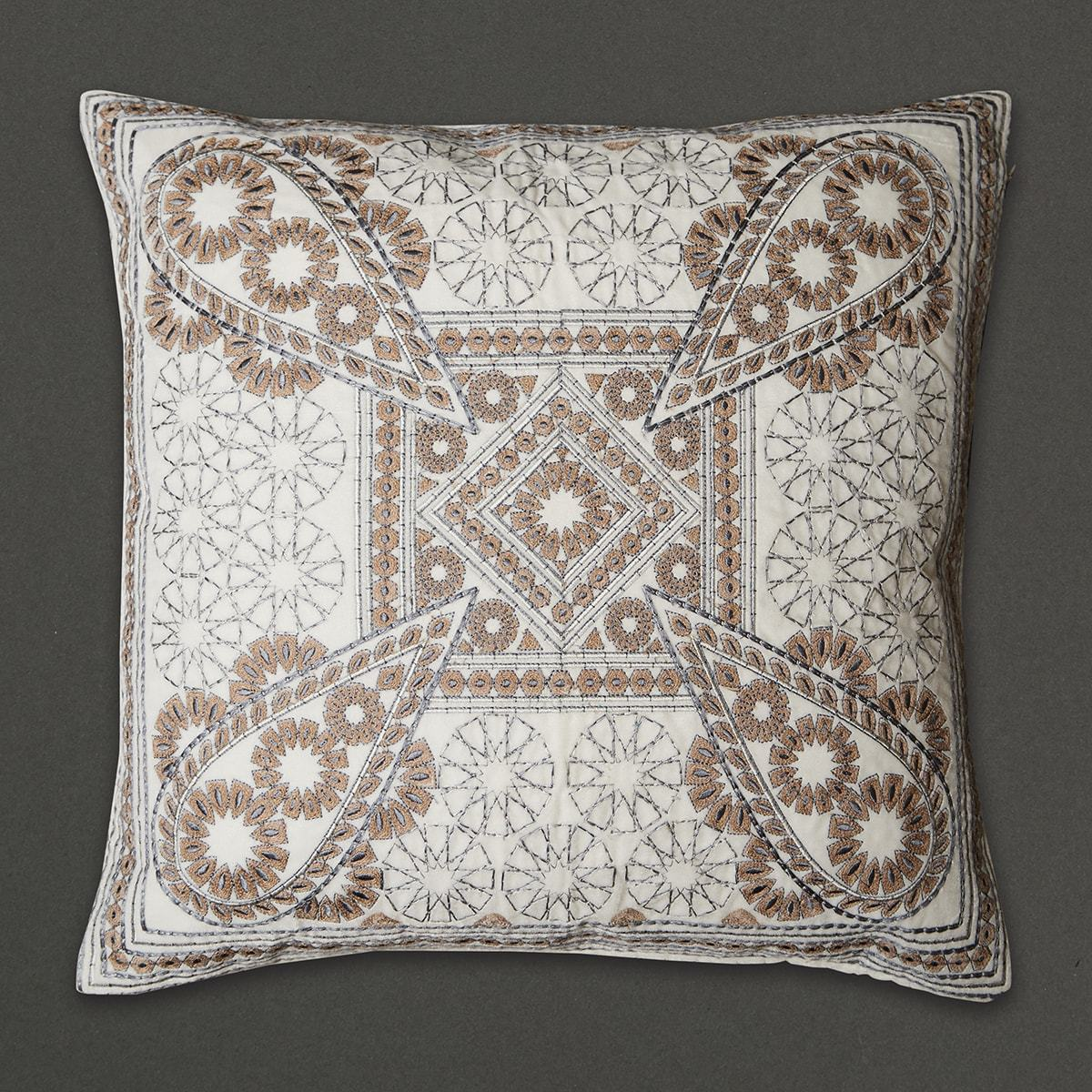 Off White Awadh Square Cushion with Filler by Ritu Kumar Home - Home Artisan