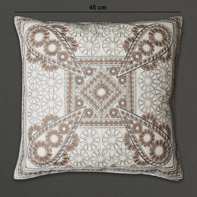 Off White Awadh Square Cushion with Filler by Ritu Kumar Home