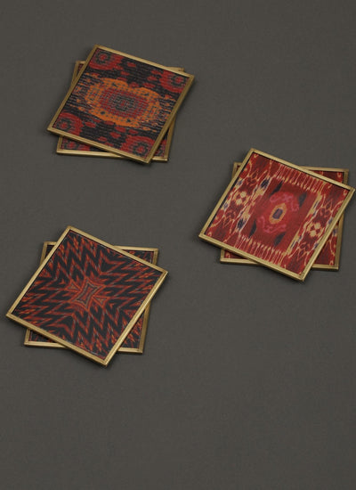 Ikkat Red Coasters Set of 6 by Ritu Kumar Home - Home Artisan