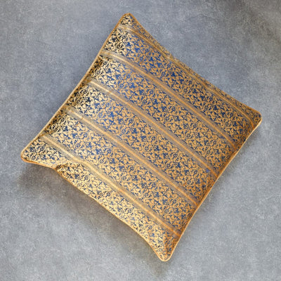 Ara Blue and Gold Embroidered Cushion by Valaya Home for Tapestry - Home Artisan