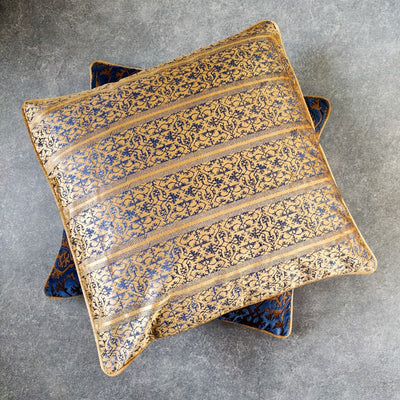 Ara Blue and Gold Embroidered Cushion Covee by Valaya Home for Tapestry