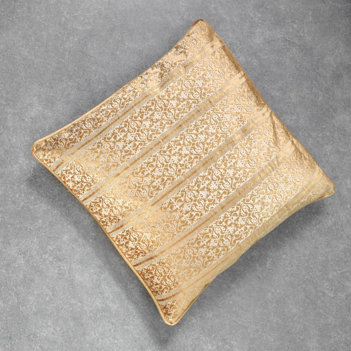 Ara Gold Embroidered Cushion Cover by Valaya Home for Tapestry  - Home Artisan