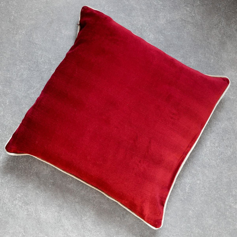 Fiza RR Red and Taupe Embroidered Cushion Cover by Valaya Home for Tapestry - Home Artisan