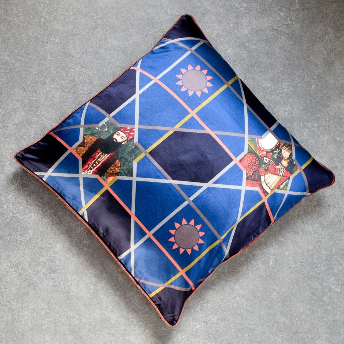 Sifat Blue Printed Cushion Cover by Valaya Home for Tapestry - Home Artisan