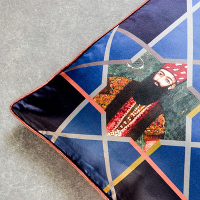 Sifat Blue Printed Cushion Cover by Valaya Home for Tapestry