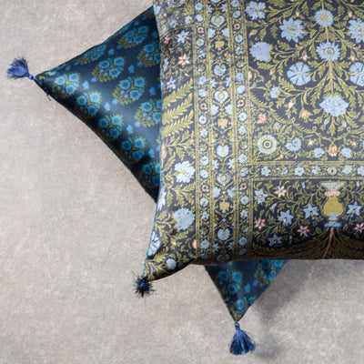 Blue and Green Printed Cushion Cover by Tapestry