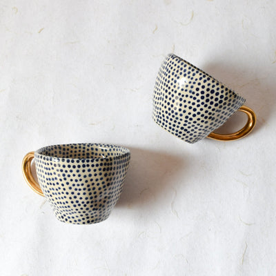 Charlotte Polka Dot Handmade Ceramic Cup with Gold Handle (Blue) - Home Artisan_3