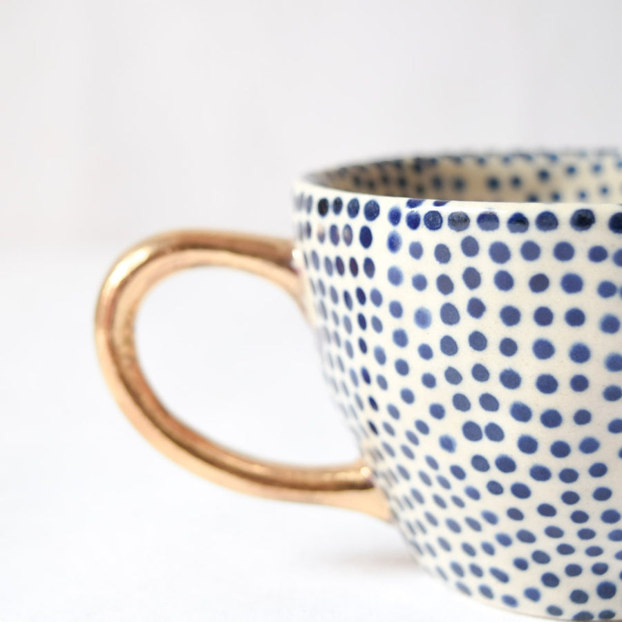 Charlotte Polka Dot Handmade Ceramic Cup with Gold Handle (Blue)