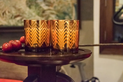 clarisse-chevron-pattern-copper-gold-candles-large-1-Home Artisan