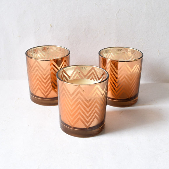 Clarisse Chevron-Pattern Copper Gold Candles - Large (Set of 3)