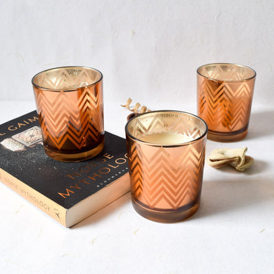 Clarisse Chevron-Pattern Copper Gold Candles - Large (Set of 3) - Home Artisan_1
