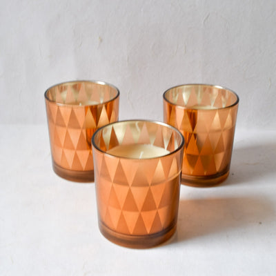 Clarisse Triangle-Pattern Copper Gold Candles - Large (Set of 3) - Home Artisan_3