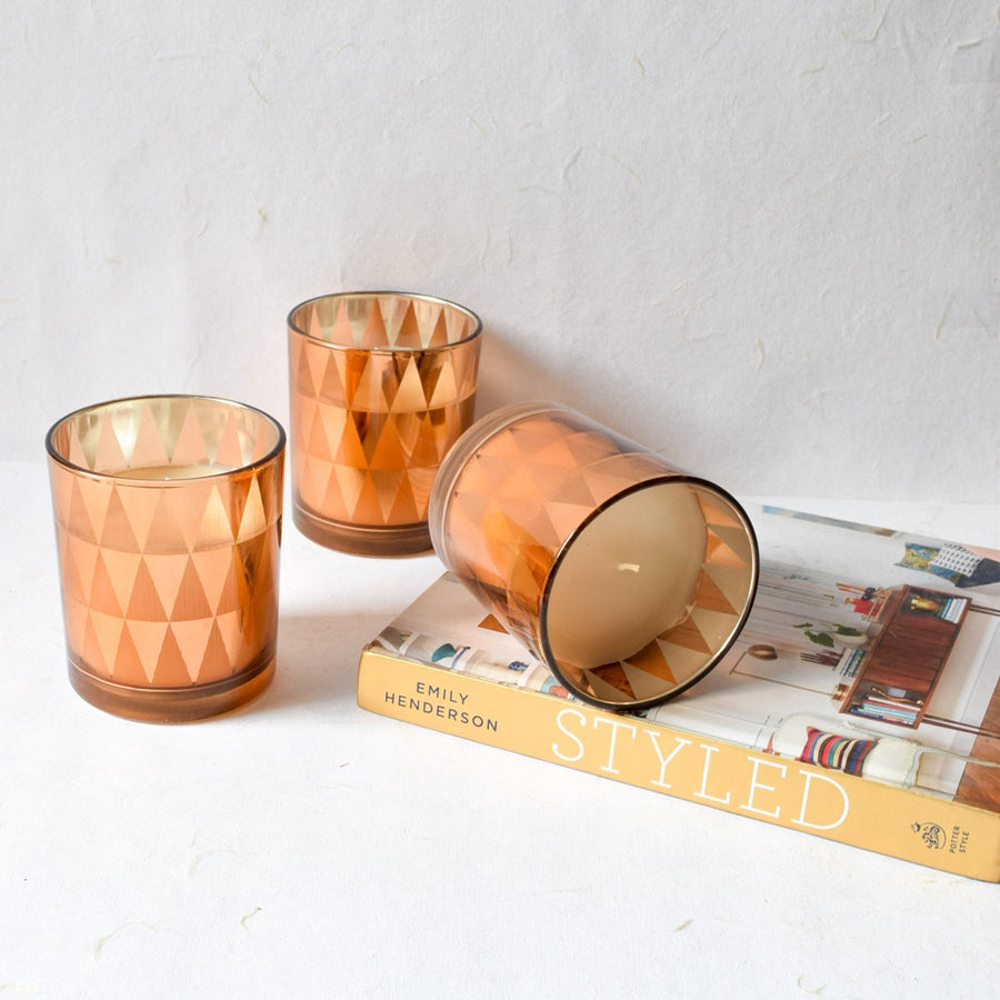 Clarisse Triangle-Pattern Copper Gold Candles - Large (Set of 3)