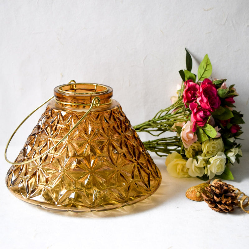 Conical Etched-Glass Vase/Candle Holder