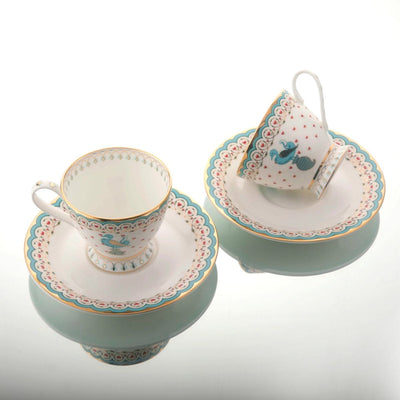 Dasara Tea Cup Saucer (Set of 2) by Kaunteya - Home Artisan