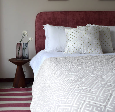 Reese Beige and White Geometric Print Quilt - Home Artisan_1