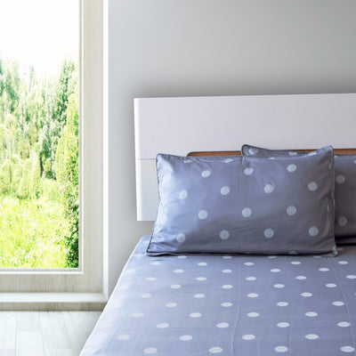 eleanor-grey-with-white-polka-dot-bed-sheet-2-Home Artisan