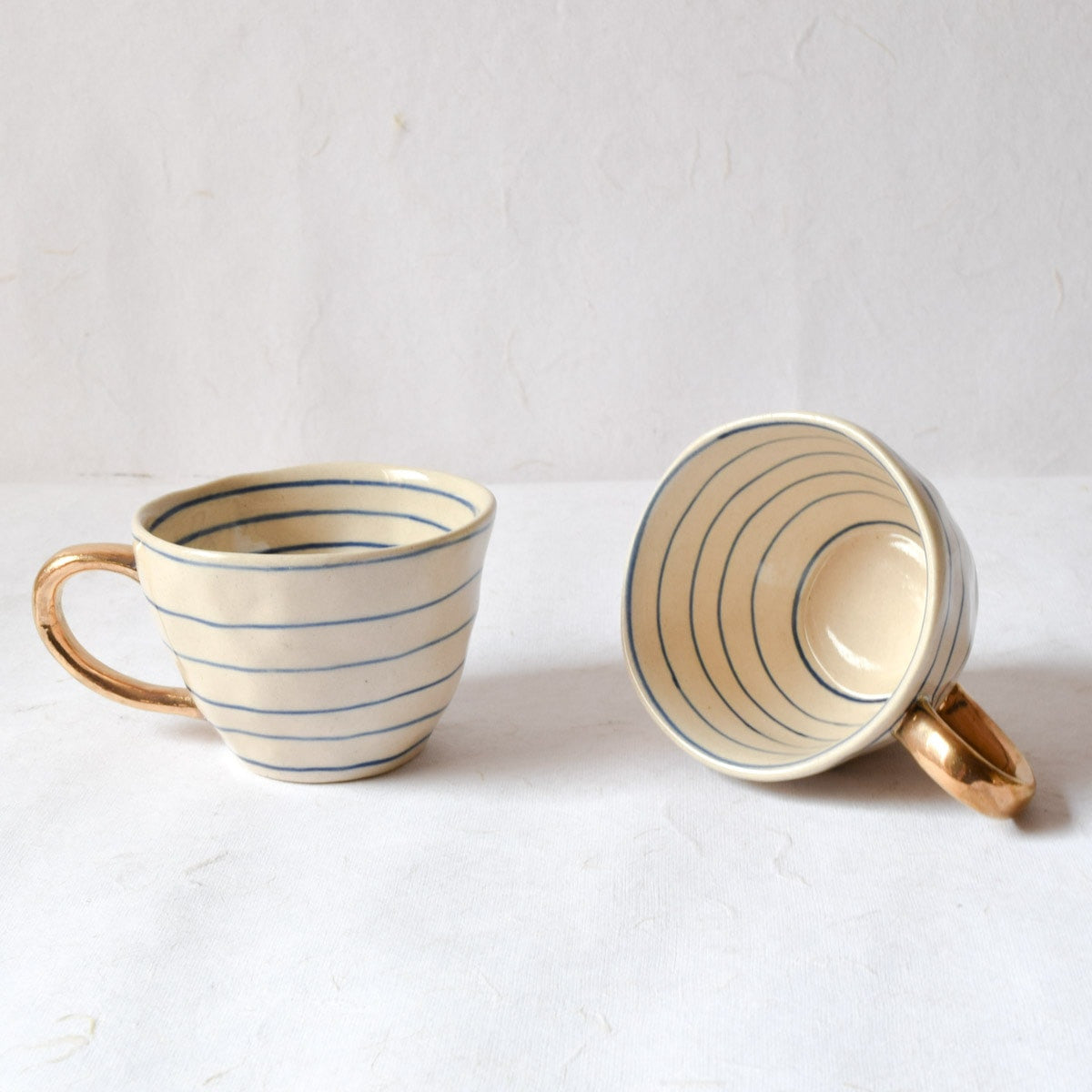 Esmee Striped Handmade Ceramic Cup with Gold Handle (Blue) - Home Artisan_1