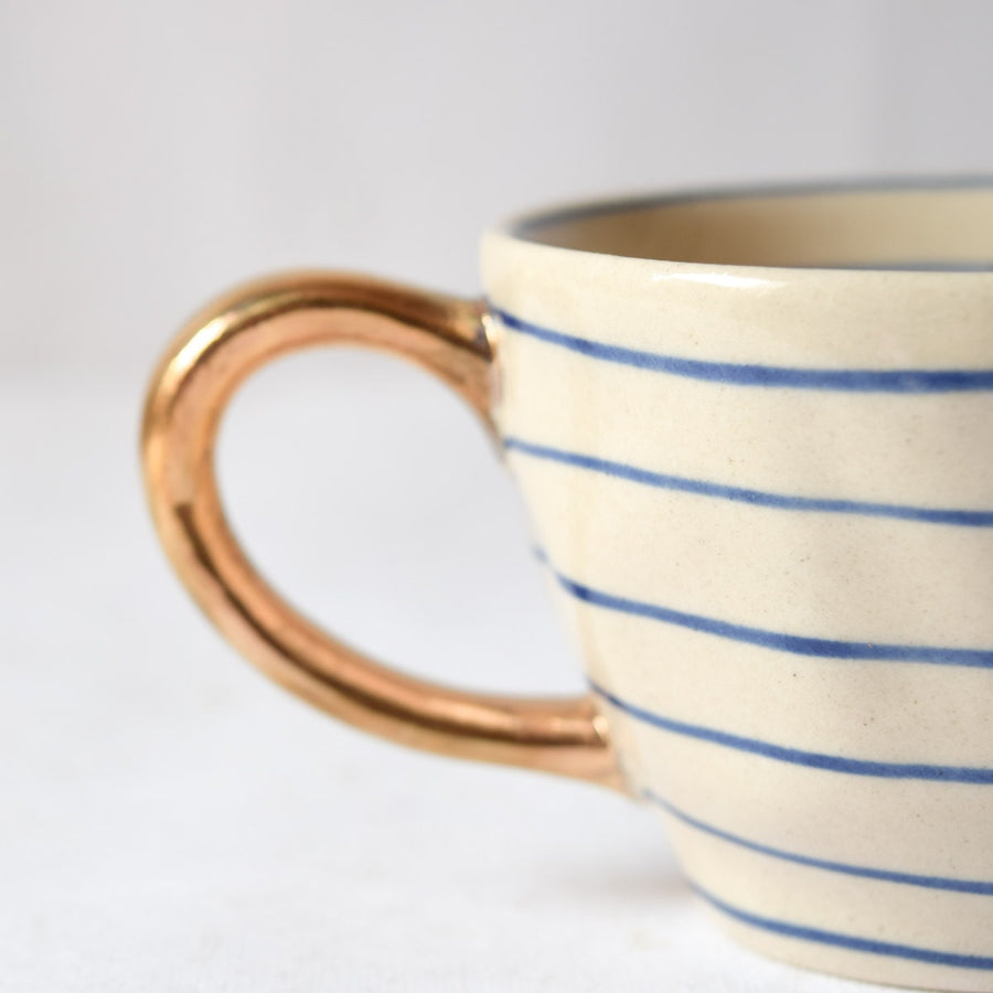 Esmee Striped Handmade Ceramic Cup with Gold Handle (Blue)