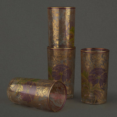Pink Chidambaram Cylinder Glass (Set of 4) by Ritu Kumar Home - Home Artisan