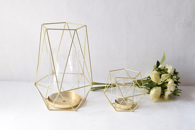 Geometric Gold Candle Holder (Small) - Home Artisan_3