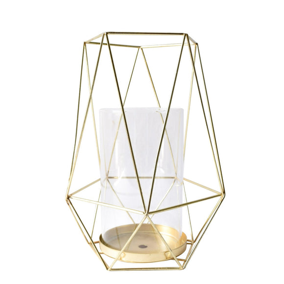 Geometric Gold Candle Holder (Large)