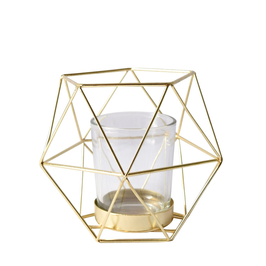 Geometric Gold Candle Holder (Small)