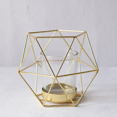 Geometric Gold Candle Holder (Small) - Home Artisan_1