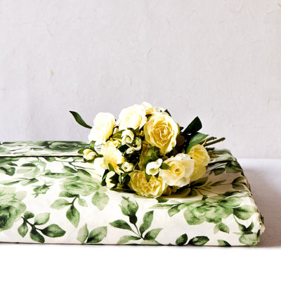Green Rose Floral Print Bed Sheet - Home Artisan_1