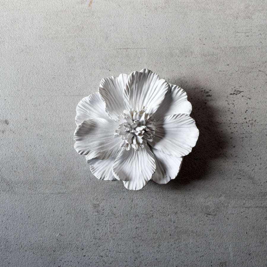Peony Ceramic Flowers Wall Sculptures (White)