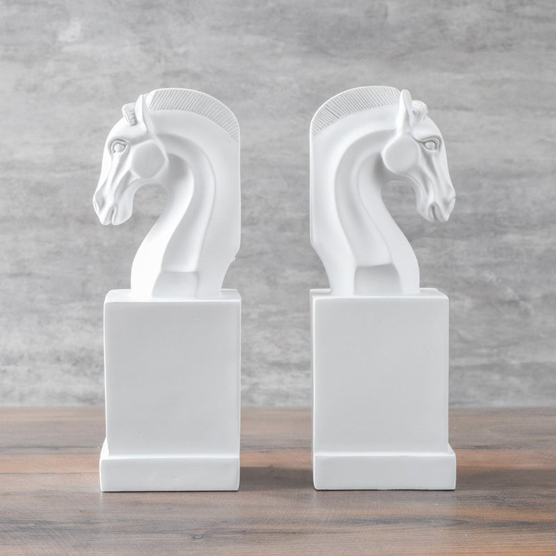 Alston White Horse Bookends - Home Artisan