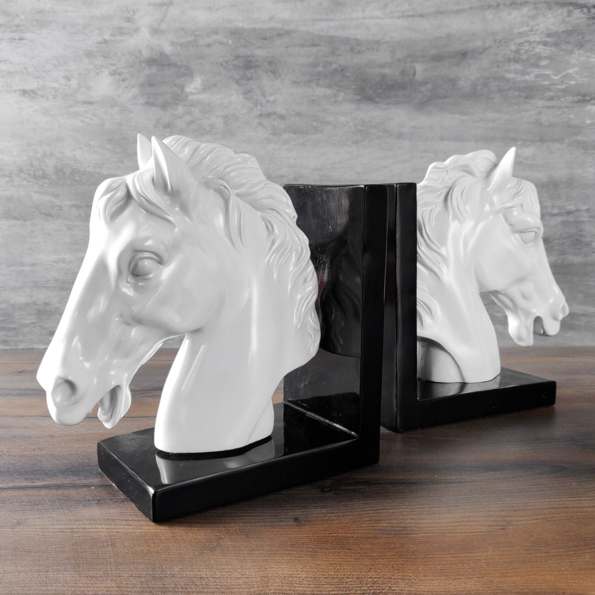 Rivia White Horse Bookends - Home Artisan