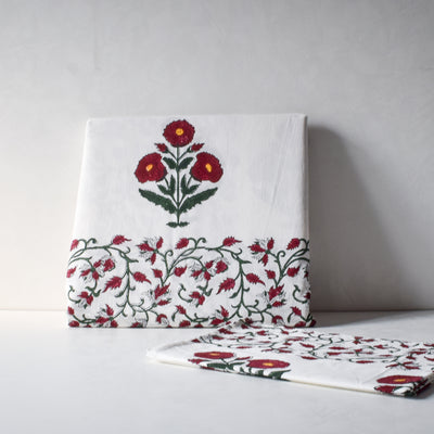 Red Poppy Hand Block Print Bed Sheet - Home Artisan_1
