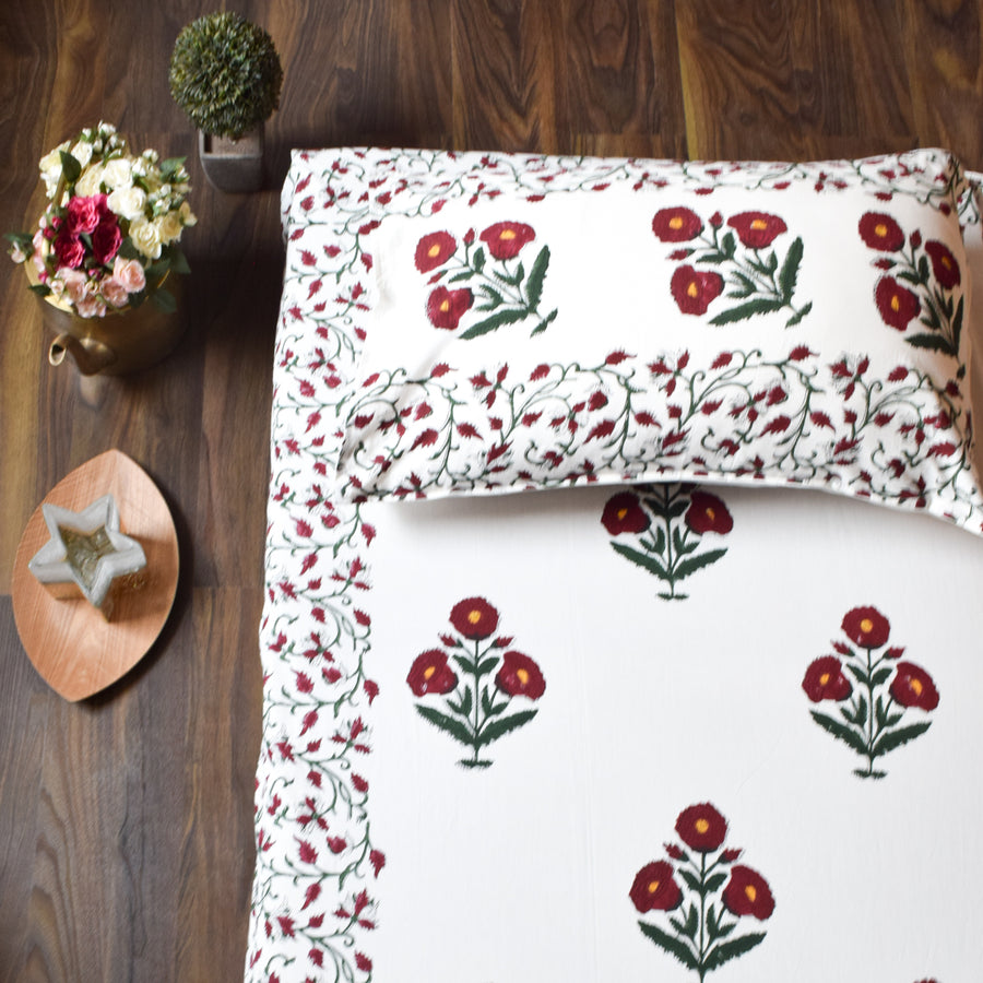 Red Poppy Hand Block Print Bed Sheet