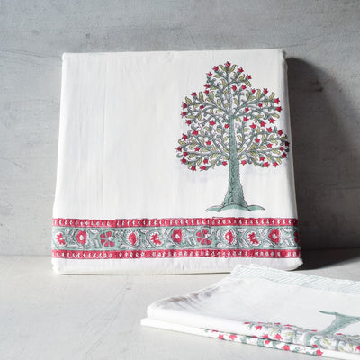 Flowering Pomegranate Tree Hand Block Print Bed Sheet - Home Artisan_3