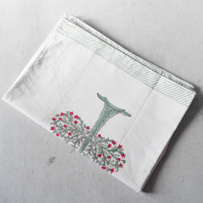 Flowering Pomegranate Tree Hand Block Print Bed Sheet - Home Artisan_4