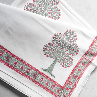 Flowering Pomegranate Tree Hand Block Print Bed Sheet - Home Artisan_2